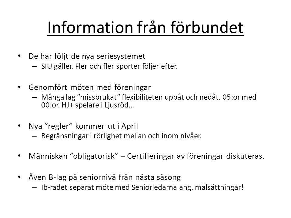 Information från förbundet De har följt de nya seriesystemet – SIU gäller.