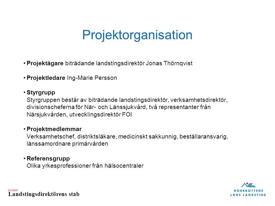 DIVISION Landstingsdirektörens stab Projektorganisation Projektägare biträdande landstingsdirektör Jonas Thörnqvist Projektledare Ing-Marie Persson St