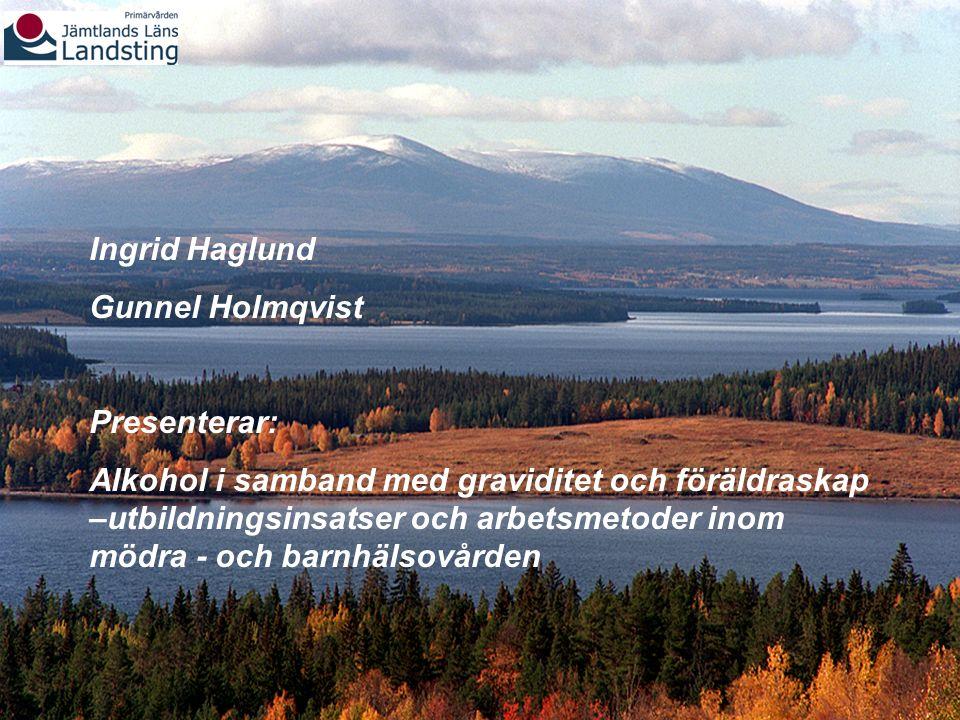 Ingrid Haglund Gunnel Holmqvist Presenterar: Alkohol i samband med graviditet och föräldraskap –utbildningsinsatser och arbetsmetoder inom mödra - och barnhälsovården