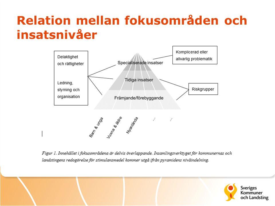 Relation mellan fokusområden och insatsnivåer