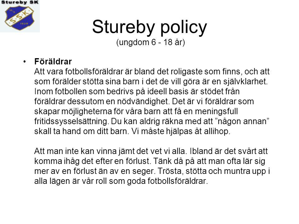 Stureby policy (ungdom 6 - 18 år) Ledarrollen Som ledare i Stureby SK erbjuds du utbildning enligt en utbildningsstege som börjar med - Att träna och leda små lirare för att sedan klättra mot mer avancerad utbildning.