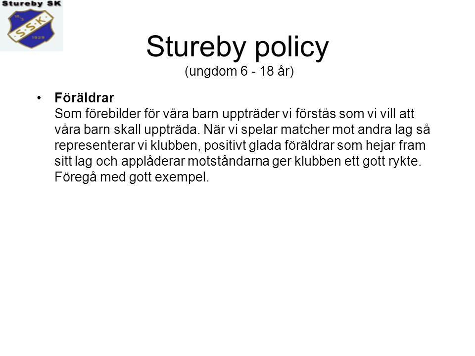 Stureby policy (ungdom 6 - 18 år) Föräldrar Att vara fotbollsföräldrar är bland det roligaste som finns, och att som förälder stötta sina barn i det de vill göra är en självklarhet.