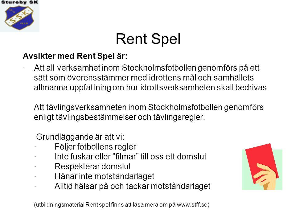 Stockholms fotbollsförbund vill nu att samtliga klubbar informerar om Rent spel ( 5- o 7-manna) – Nolltolerans-sila-snacket (11-manna) Stureby SK ställer helhjärtat upp bakom parollen - Rent spel - och Nolltolerans-sila-snacket .