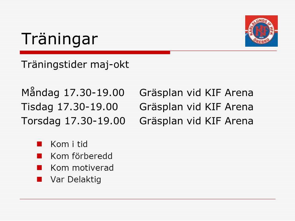 Träningar Träningstider maj-okt Måndag 17.30-19.00Gräsplan vid KIF Arena Tisdag 17.30-19.00 Gräsplan vid KIF Arena Torsdag 17.30-19.00 Gräsplan vid KIF Arena Kom i tid Kom förberedd Kom motiverad Var Delaktig