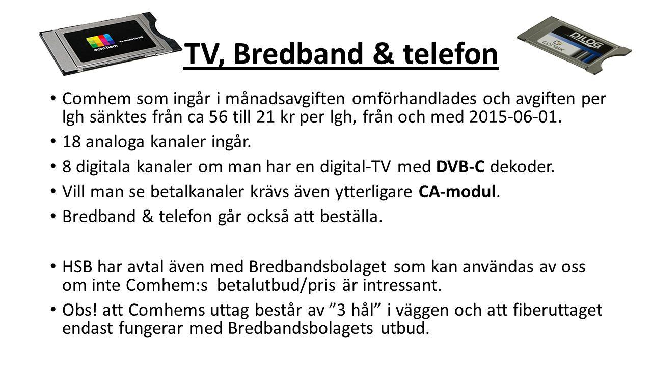 T TV, Bredband & telefon Comhem som ingår i månadsavgiften omförhandlades och avgiften per lgh sänktes från ca 56 till 21 kr per lgh, från och med 201