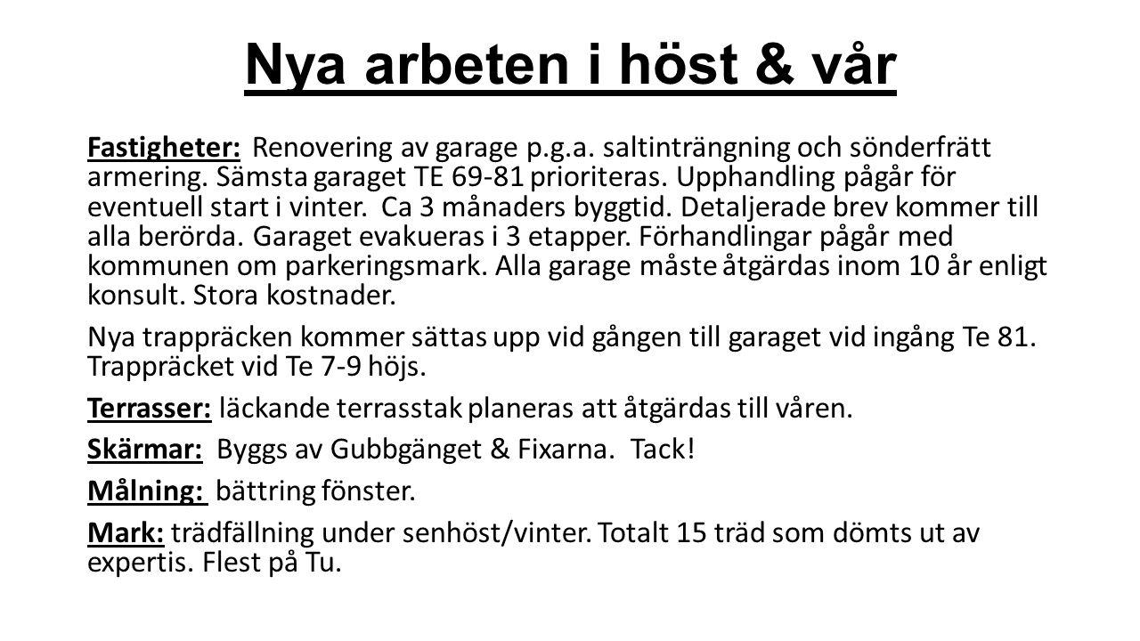 Nya arbeten i höst & vår Fastigheter: Renovering av garage p.g.a. saltinträngning och sönderfrätt armering. Sämsta garaget TE 69-81 prioriteras. Uppha