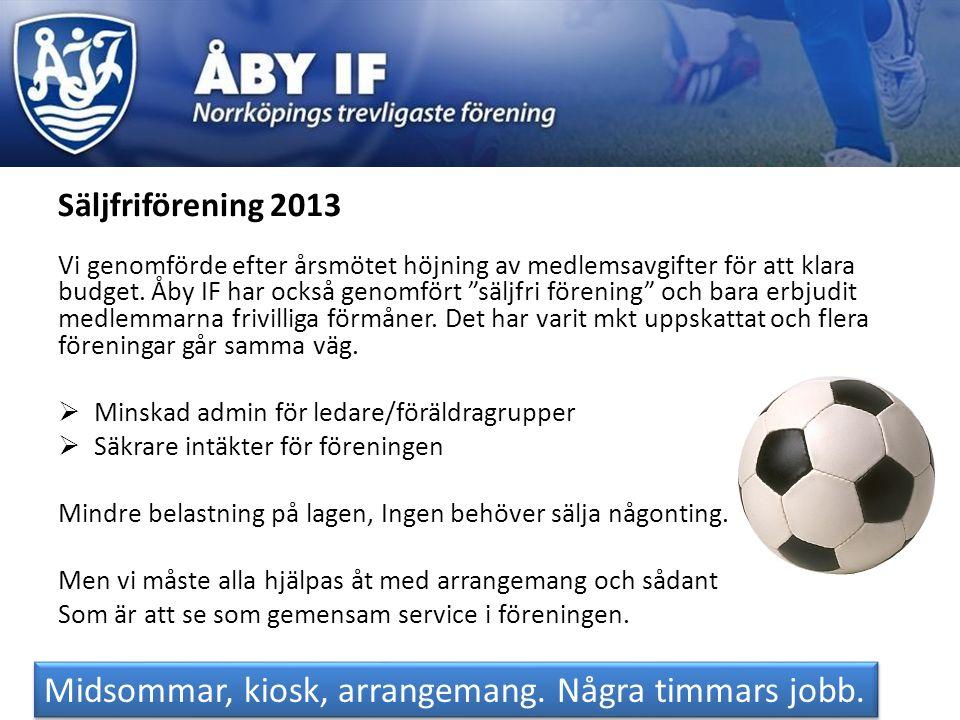 """Säljfriförening 2013 Vi genomförde efter årsmötet höjning av medlemsavgifter för att klara budget. Åby IF har också genomfört """"säljfri förening"""" och b"""