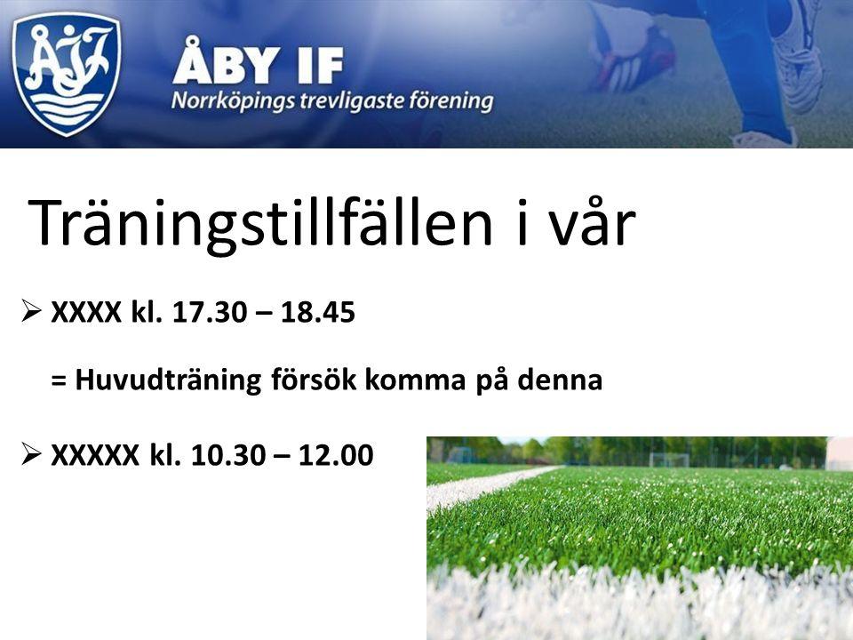 Träningstillfällen i vår  XXXX kl. 17.30 – 18.45 = Huvudträning försök komma på denna  XXXXX kl. 10.30 – 12.00