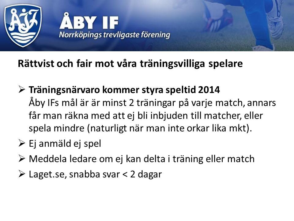 Rättvist och fair mot våra träningsvilliga spelare  Träningsnärvaro kommer styra speltid 2014 Åby IFs mål är är minst 2 träningar på varje match, annars får man räkna med att ej bli inbjuden till matcher, eller spela mindre (naturligt när man inte orkar lika mkt).