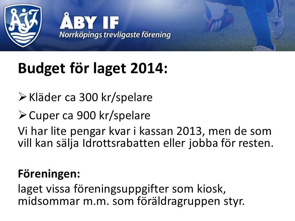 Budget för laget 2014:  Kläder ca 300 kr/spelare  Cuper ca 900 kr/spelare Vi har lite pengar kvar i kassan 2013, men de som vill kan sälja Idrottsra
