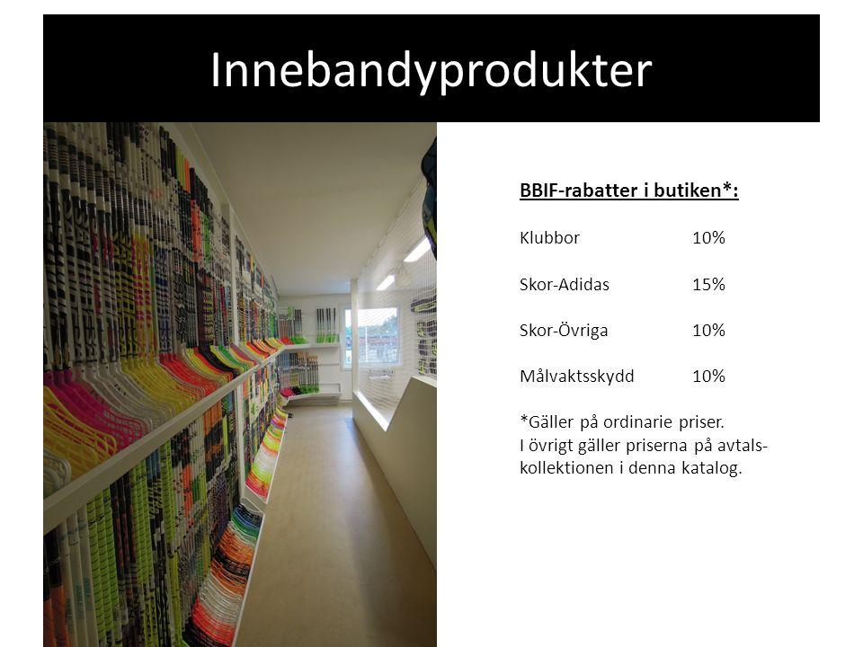 BBIF-rabatter i butiken*: Klubbor10% Skor-Adidas15% Skor-Övriga10% Målvaktsskydd10% *Gäller på ordinarie priser.