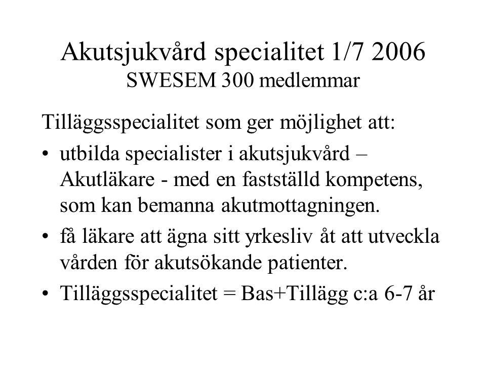 Akutsjukvård specialitet 1/7 2006 SWESEM 300 medlemmar Tilläggsspecialitet som ger möjlighet att: utbilda specialister i akutsjukvård – Akutläkare - med en fastställd kompetens, som kan bemanna akutmottagningen.
