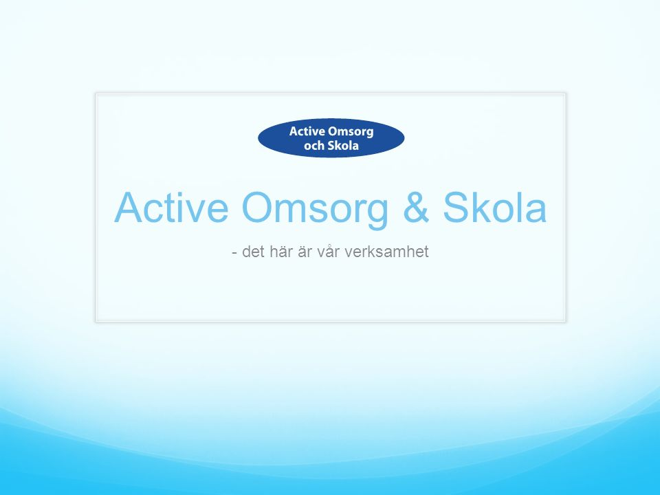 Active Omsorg & Skola - det här är vår verksamhet