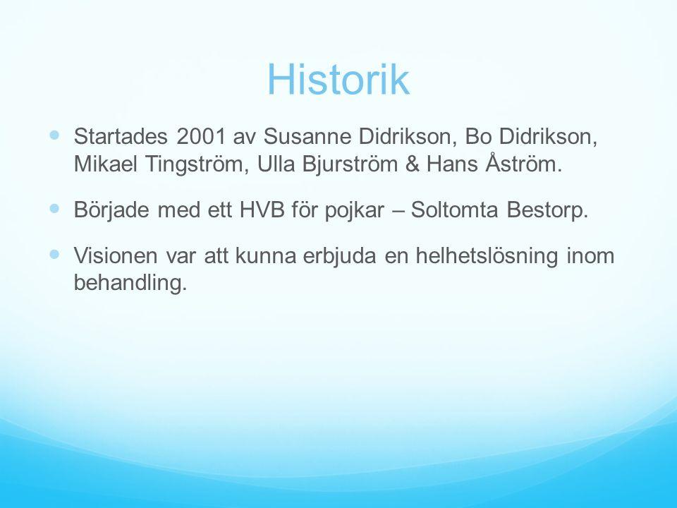 Historik Startades 2001 av Susanne Didrikson, Bo Didrikson, Mikael Tingström, Ulla Bjurström & Hans Åström. Började med ett HVB för pojkar – Soltomta
