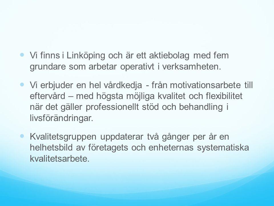 Vi finns i Linköping och är ett aktiebolag med fem grundare som arbetar operativt i verksamheten. Vi erbjuder en hel vårdkedja - från motivationsarbet