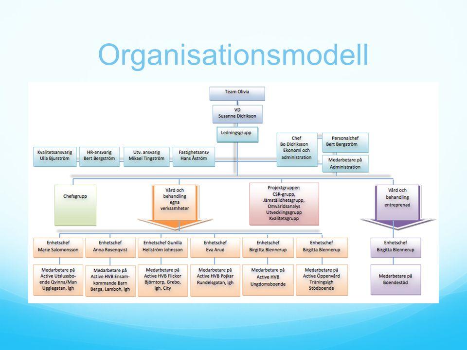 Arbetsform Målstyrda arbetsgrupper Professionell kunskap och aktuell forskning som utgångspunkt Medarbetare och klienter bildar ett team tillsammans med en samordnare Mycket bred kompetens inom personalen Kompetensutbyten mellan enheterna