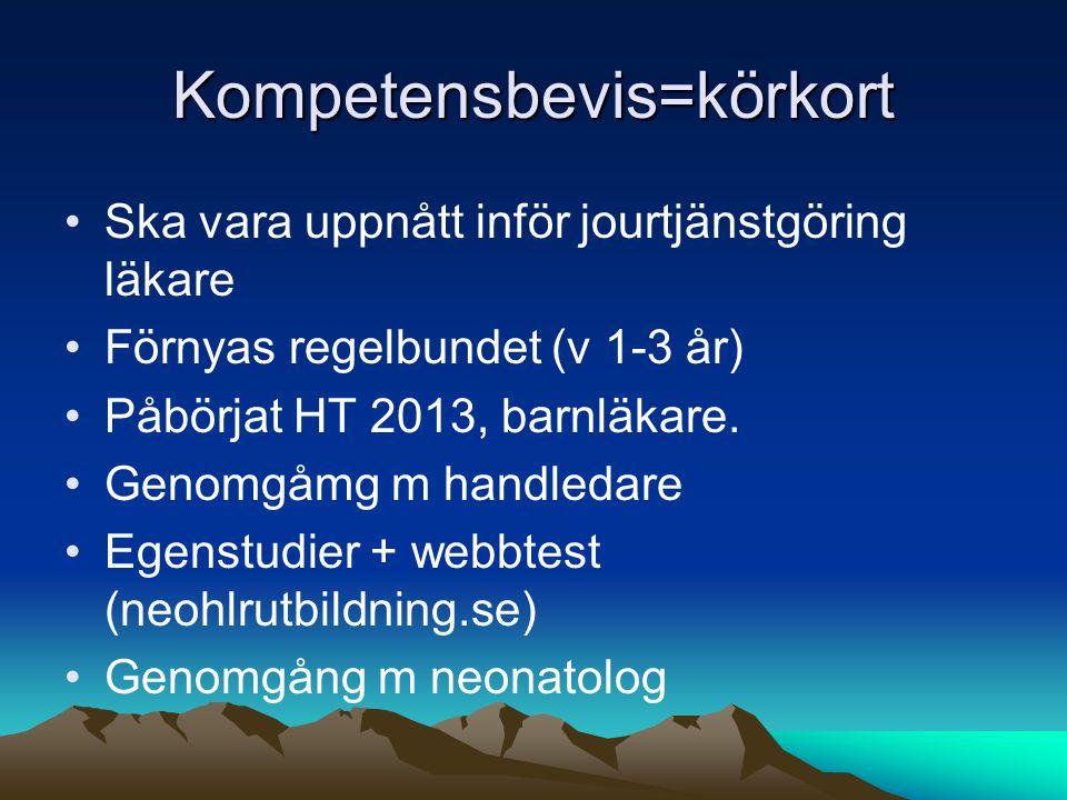 Kompetensbevis=körkort Ska vara uppnått inför jourtjänstgöring läkare Förnyas regelbundet (v 1-3 år) Påbörjat HT 2013, barnläkare. Genomgåmg m handled