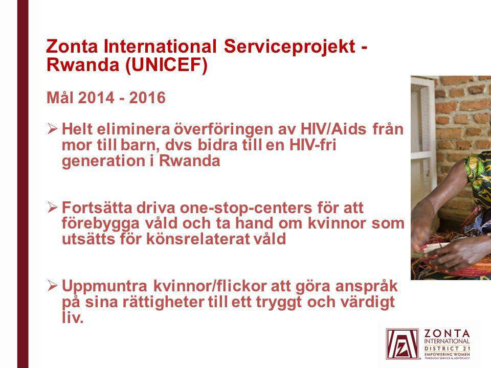 Zonta International Serviceprojekt - Rwanda (UNICEF) Mål 2014 - 2016  Helt eliminera överföringen av HIV/Aids från mor till barn, dvs bidra till en HIV-fri generation i Rwanda  Fortsätta driva one-stop-centers för att förebygga våld och ta hand om kvinnor som utsätts för könsrelaterat våld  Uppmuntra kvinnor/flickor att göra anspråk på sina rättigheter till ett tryggt och värdigt liv.