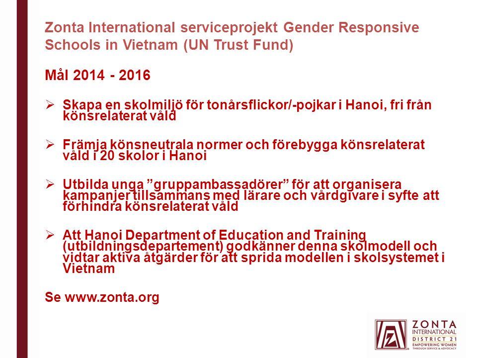 Zonta International serviceprojekt Gender Responsive Schools in Vietnam (UN Trust Fund) Mål 2014 - 2016  Skapa en skolmiljö för tonårsflickor/-pojkar i Hanoi, fri från könsrelaterat våld  Främja könsneutrala normer och förebygga könsrelaterat våld i 20 skolor i Hanoi  Utbilda unga gruppambassadörer för att organisera kampanjer tillsammans med lärare och vårdgivare i syfte att förhindra könsrelaterat våld  Att Hanoi Department of Education and Training (utbildningsdepartement) godkänner denna skolmodell och vidtar aktiva åtgärder för att sprida modellen i skolsystemet i Vietnam Se www.zonta.org