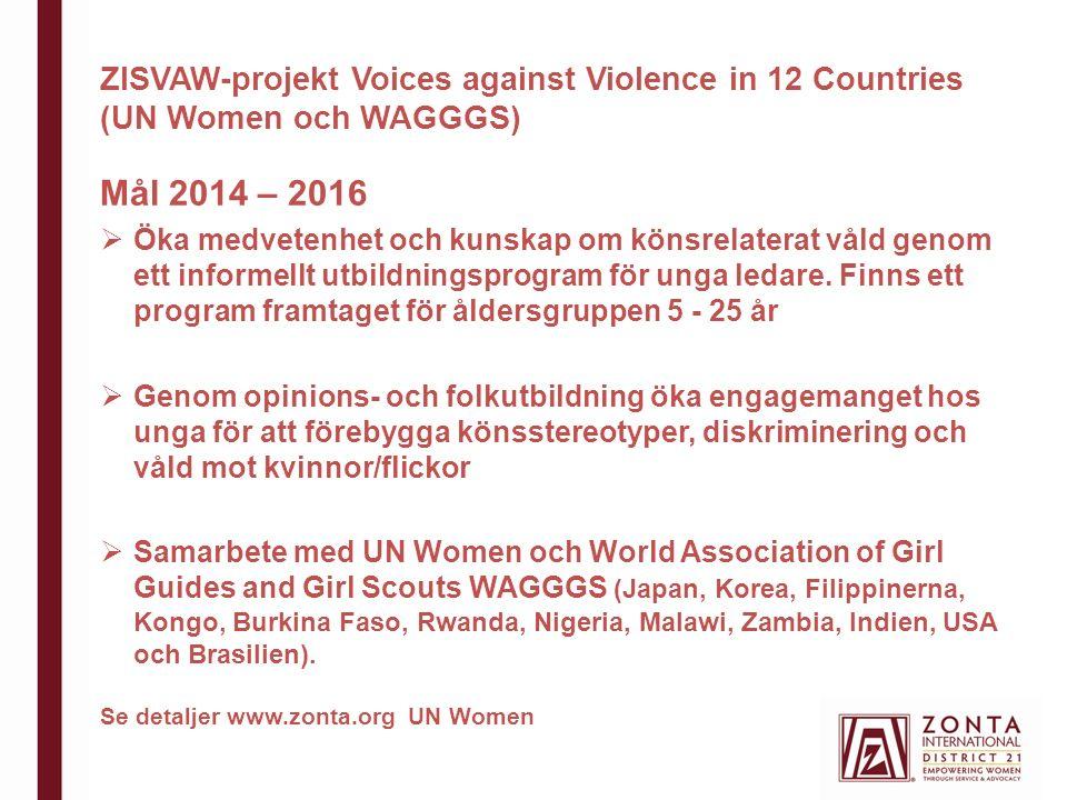 ZISVAW-projekt Voices against Violence in 12 Countries (UN Women och WAGGGS) Mål 2014 – 2016  Öka medvetenhet och kunskap om könsrelaterat våld genom ett informellt utbildningsprogram för unga ledare.