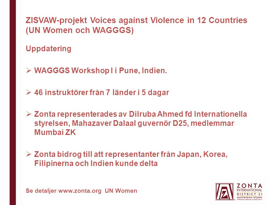 ZISVAW-projekt Voices against Violence in 12 Countries (UN Women och WAGGGS) Uppdatering  WAGGGS Workshop I i Pune, Indien.