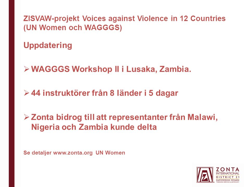 ZISVAW-projekt Voices against Violence in 12 Countries (UN Women och WAGGGS) Uppdatering  WAGGGS Workshop II i Lusaka, Zambia.