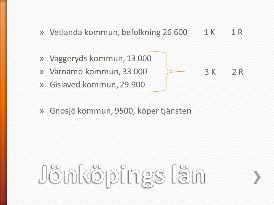 » Vetlanda kommun, befolkning 26 600 1 K1 R » Vaggeryds kommun, 13 000 » Värnamo kommun, 33 000 » Gislaved kommun, 29 900 » Gnosjö kommun, 9500, köper tjänsten 3 K2 R