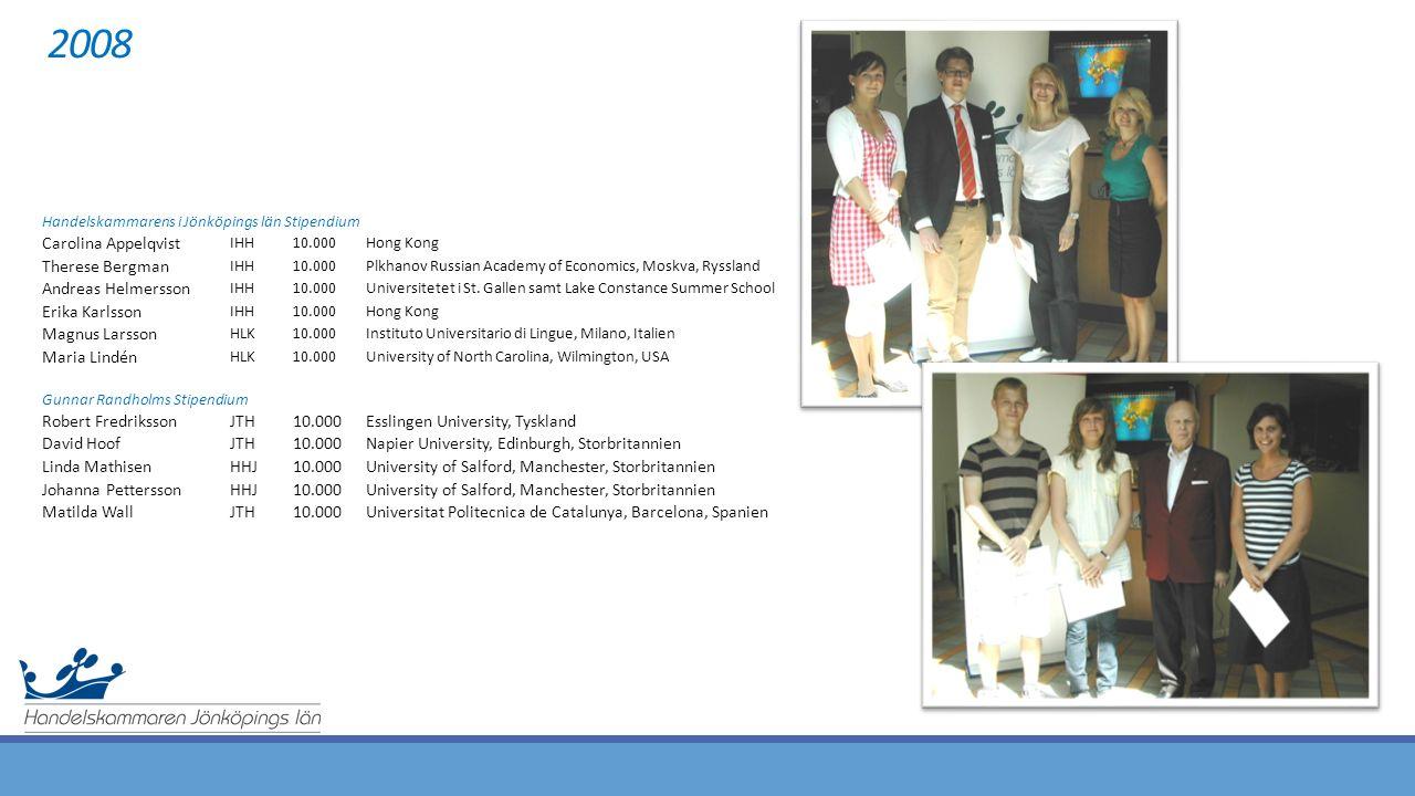 2008 Handelskammarens i Jönköpings län Stipendium Carolina Appelqvist IHH10.000Hong Kong Therese Bergman IHH10.000Plkhanov Russian Academy of Economics, Moskva, Ryssland Andreas Helmersson IHH10.000Universitetet i St.