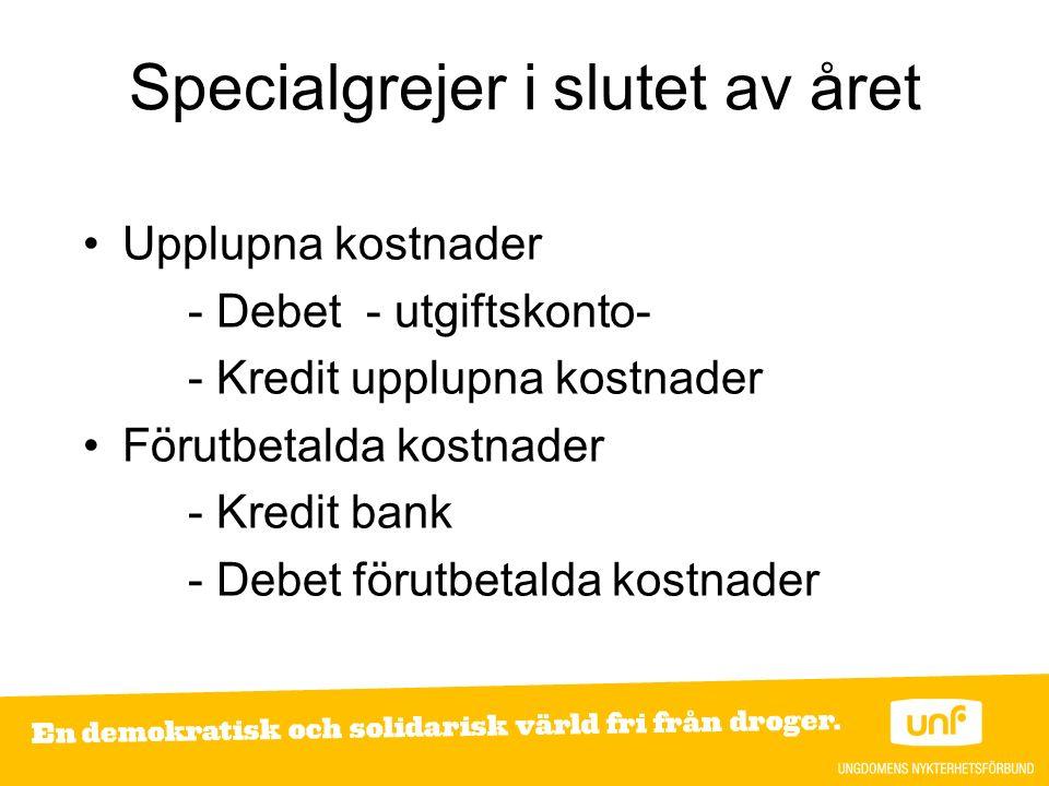 Specialgrejer i slutet av året Upplupna kostnader - Debet - utgiftskonto- - Kredit upplupna kostnader Förutbetalda kostnader - Kredit bank - Debet förutbetalda kostnader