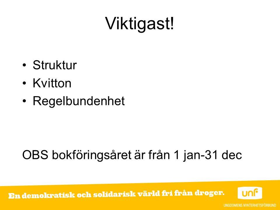 Viktigast! Struktur Kvitton Regelbundenhet OBS bokföringsåret är från 1 jan-31 dec
