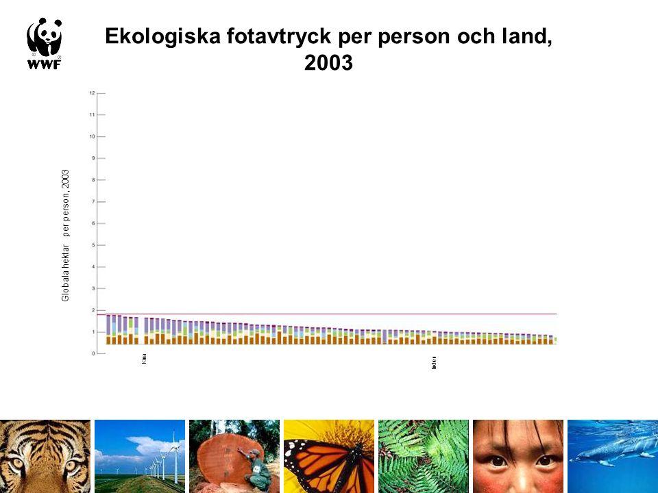 Ekologiska fotavtryck per person och land, 2003 Kina Indien Globala hektar per person, 2003