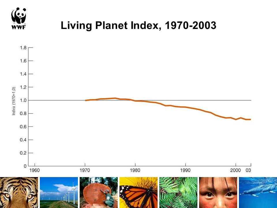Living Planet Index, 1970-2003 Index (1970=1,0)