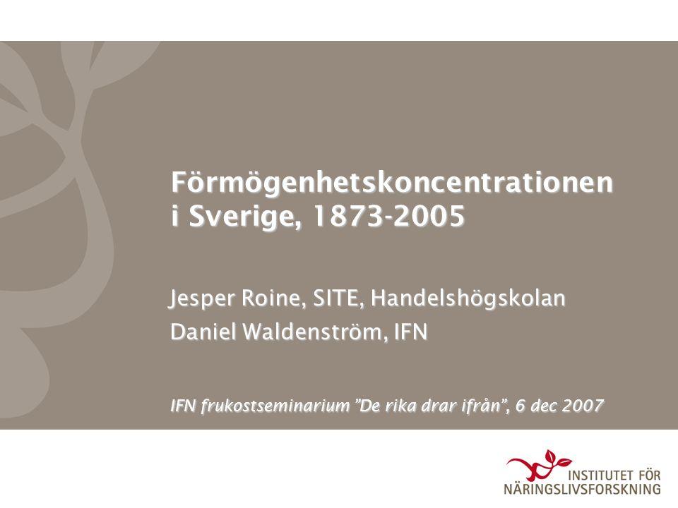 Förmögenhetskoncentrationen i Sverige, 1873-2005 Jesper Roine, SITE, Handelshögskolan Daniel Waldenström, IFN IFN frukostseminarium De rika drar ifrån , 6 dec 2007