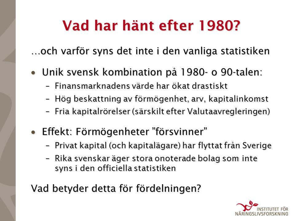 Förmögenhetskoncentrationen 1950- 2005 (SCB:s officiella serie) Botten 90% Topp 1%