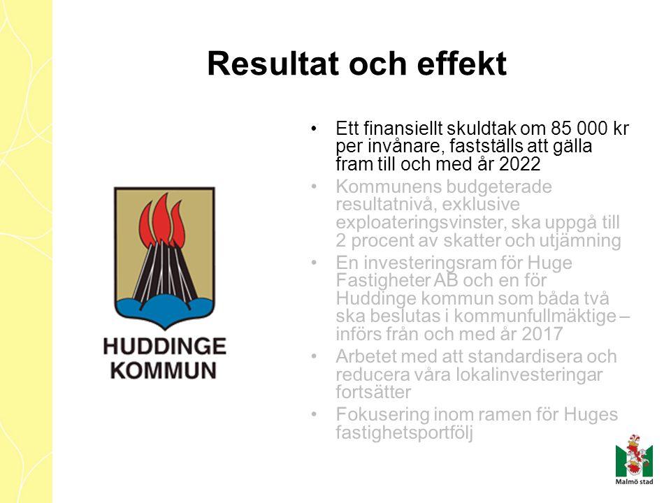 Ett finansiellt skuldtak om 85 000 kr per invånare, fastställs att gälla fram till och med år 2022 Kommunens budgeterade resultatnivå, exklusive explo