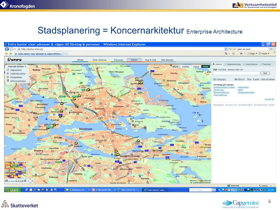 Stadsplanering = Koncernarkitektur Enterprise Architecture 5