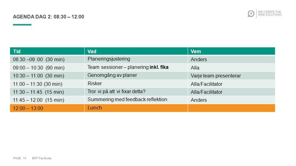 PAGE 14 AGENDA DAG 2: 08:30 – 12:00 TidVadVem 08:30 –09 :00 (30 min)PlaneringsjusteringAnders 09:00 – 10:30 (90 min)Team sessioner – planering inkl. f