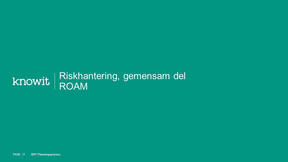 Riskhantering, gemensam del ROAM PAGE 17 BRP Planeringsprocess