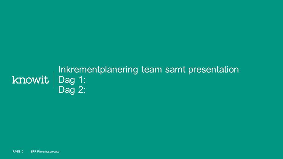 Inkrementplanering team samt presentation Dag 1: Dag 2: PAGE 2 BRP Planeringsprocess
