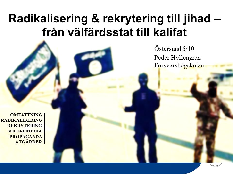 RISK- OCH HOTBEDÖMNING Resandet avtar inte Ökad förmåga Förändrad avsikt Sänkt våldströskel Radikaliseras ytterligare Internationella kontakter Psykologiska trauman Blir förebilder och rekryterare Främst attentatsavsikt mot tredjeland Finansiering från Sverige Svenskt bidrag till Irak/Kurdistan Antalet sympatisörer på social media är stort Spänningar mellan etniska och religiösa grupper i Sverige.