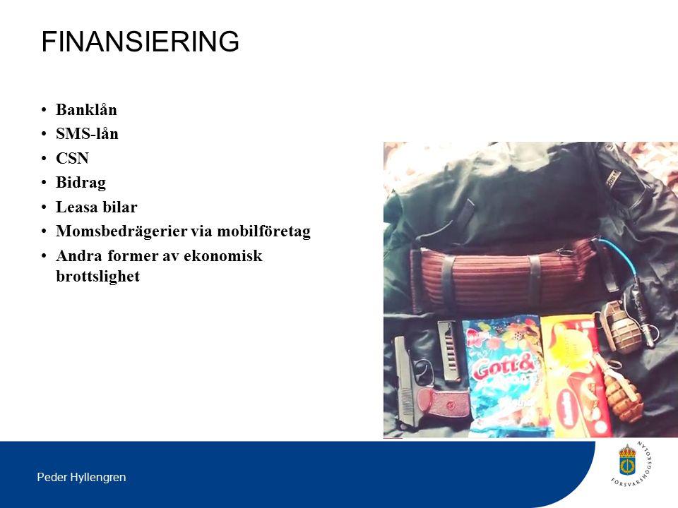 Peder Hyllengren FINANSIERING Banklån SMS-lån CSN Bidrag Leasa bilar Momsbedrägerier via mobilföretag Andra former av ekonomisk brottslighet