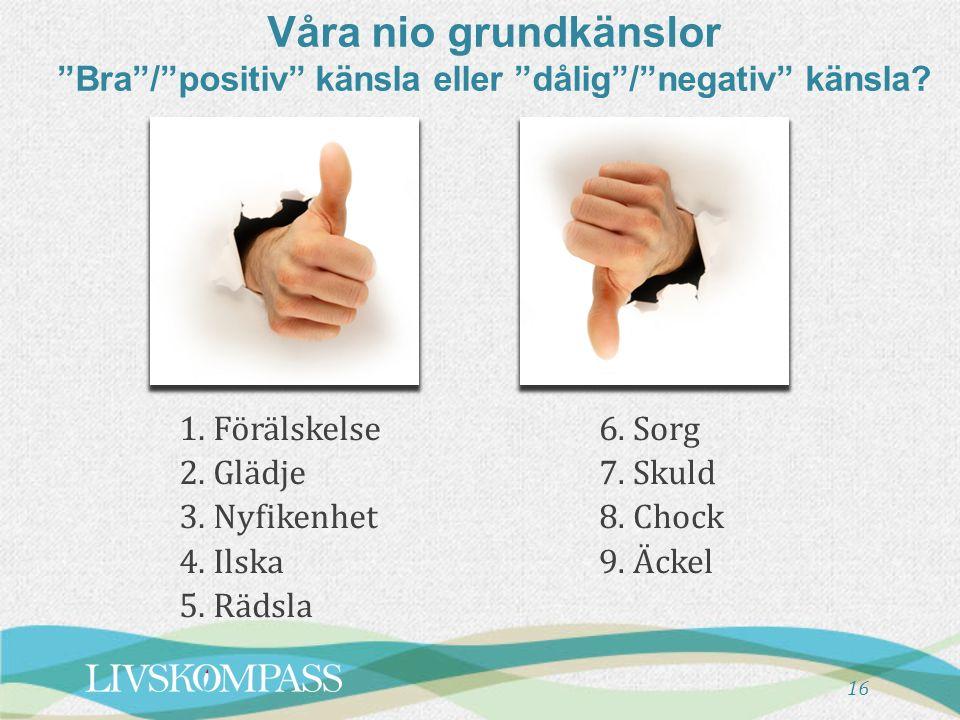 """16 Våra nio grundkänslor """"Bra""""/""""positiv"""" känsla eller """"dålig""""/""""negativ"""" känsla? 1. Förälskelse 2. Glädje 3. Nyfikenhet 4. Ilska 5. Rädsla 6. Sorg 7. S"""