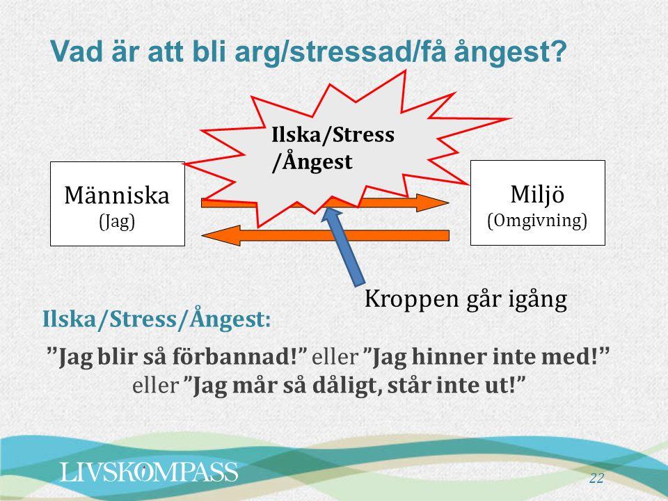 """22 Vad är att bli arg/stressad/få ångest? Människa (Jag) Ilska/Stress /Ångest Miljö (Omgivning) Kroppen går igång Ilska/Stress/Ångest: """"Jag blir så fö"""