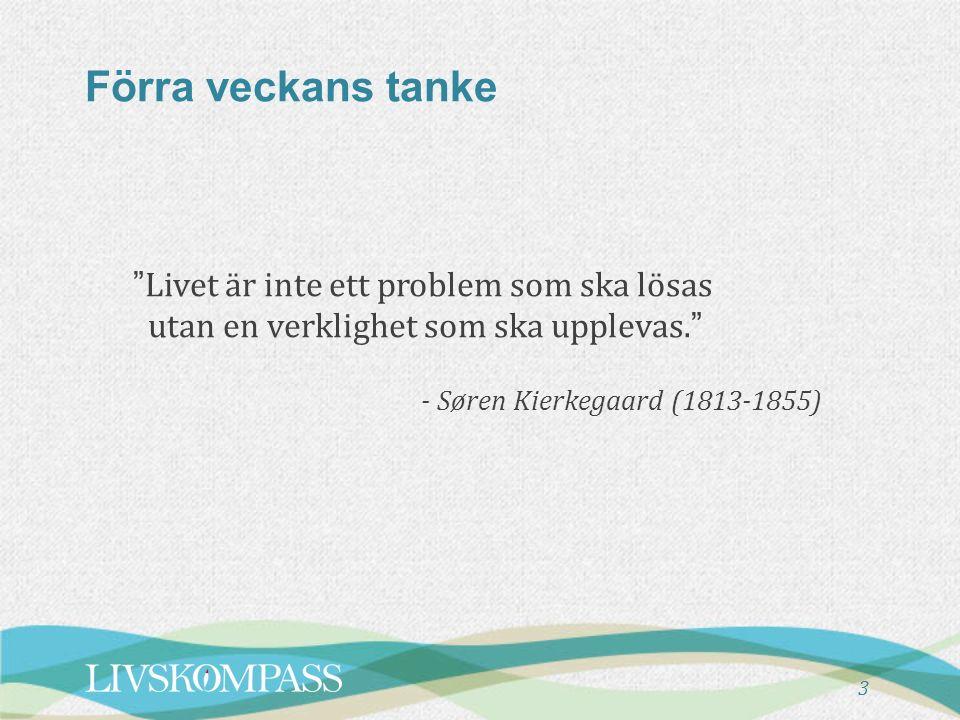 """Förra veckans tanke """"Livet är inte ett problem som ska lösas utan en verklighet som ska upplevas."""" - Søren Kierkegaard (1813-1855) 3"""
