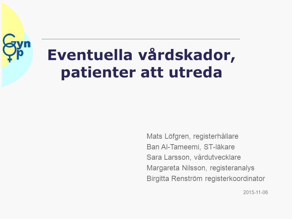 Eventuella vårdskador, patienter att utreda 2015-11-06 Mats Löfgren, registerhållare Ban Al-Tameemi, ST-läkare Sara Larsson, vårdutvecklare Margareta