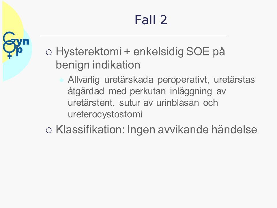 Fall 2  Hysterektomi + enkelsidig SOE på benign indikation Allvarlig uretärskada peroperativt, uretärstas åtgärdad med perkutan inläggning av uretärs