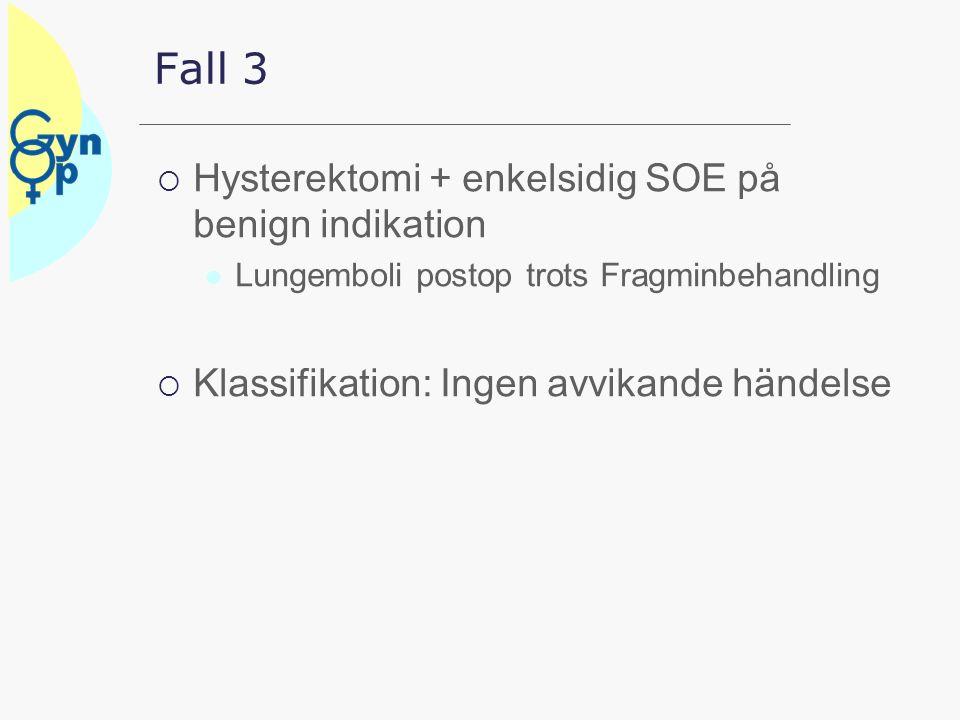 Fall 3  Hysterektomi + enkelsidig SOE på benign indikation Lungemboli postop trots Fragminbehandling  Klassifikation: Ingen avvikande händelse
