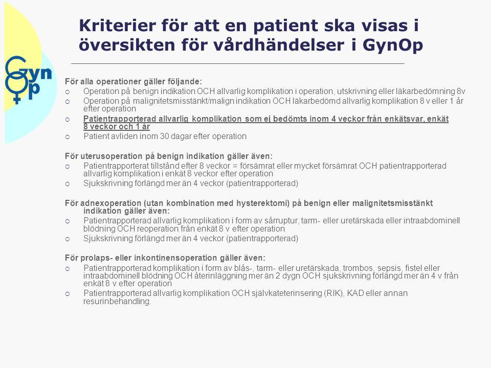 Kriterier för att en patient ska visas i översikten för vårdhändelser i GynOp För alla operationer gäller följande:  Operation på benign indikation O