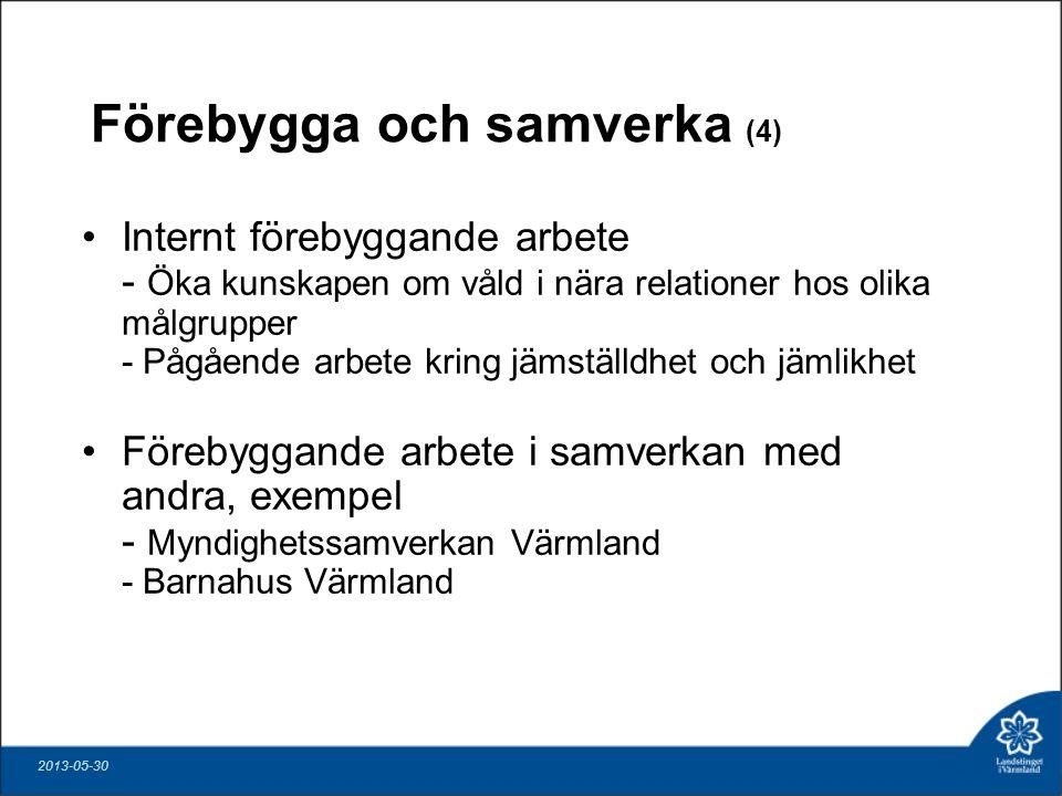 Förebygga och samverka (4) Internt förebyggande arbete - Öka kunskapen om våld i nära relationer hos olika målgrupper - Pågående arbete kring jämställdhet och jämlikhet Förebyggande arbete i samverkan med andra, exempel - Myndighetssamverkan Värmland - Barnahus Värmland 2013-05-30