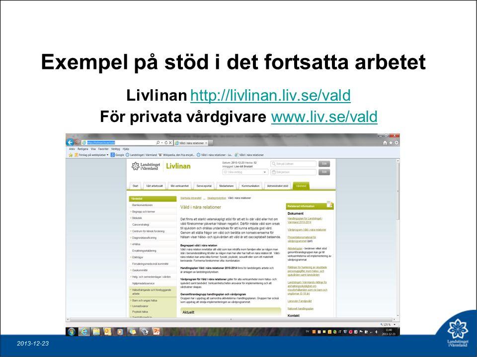 Exempel på stöd i det fortsatta arbetet Livlinan http://livlinan.liv.se/valdhttp://livlinan.liv.se/vald För privata vårdgivare www.liv.se/valdwww.liv.se/vald 2013-12-23